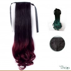 Black Brown & Burgundy Dip-Dye Ombre Wavy Hairpiece Ponytail Extension UK