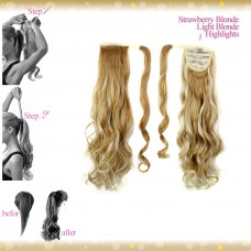 Wrap Around Clip In Pony Curly Strawberry Blonde Light Blonde Highlights Hair Extension UK