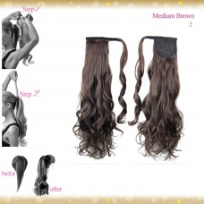 Wrap Around Clip In Pony Curly Medium Brown Hair Extension UK