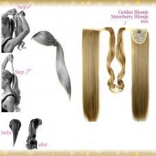 Wrap Around Clip In Pony Straight Golden Blonde Strawberry Blonde Mix Hair Extension UK