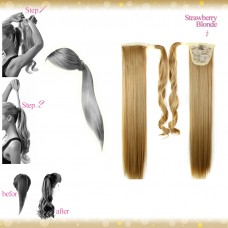 Wrap Around Clip In Pony Straight Strawberry Blonde Hair Extension UK