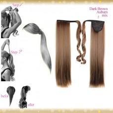 Wrap Around Clip In Pony Straight Dark Brown Auburn mix Hair Extension UK