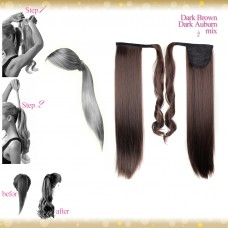 Wrap Around Clip In Pony Straight Dark Brown Dark Auburn mix Hair Extension UK