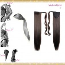 Wrap Around Clip In Pony Straight Medium Brown Hair Extension UK