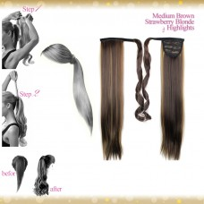 Wrap Around Clip In Pony Straight Medium Brown Strawberry Blonde Highlights Hair Extension UK