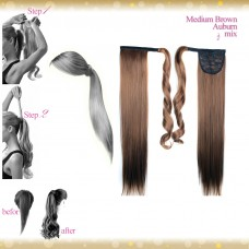 Wrap Around Clip In Pony Straight Medium Brown Auburn mix Hair Extension UK