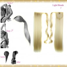 Wrap Around Clip In Pony Straight Light Blonde Hair Extension UK