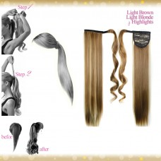 Wrap Around Clip In Pony Straight Light Brown Light Blonde Highlights Hair Extension UK