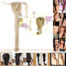 Celebrity Cute Light Blonde Fishtail Braids Velcro Wrap Ponytail Plaited Hair Extensions
