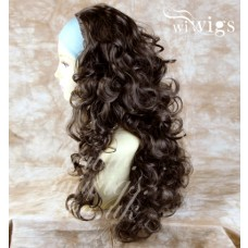 Medium Brown 3/4 Fall Hairpiece Long Curly Layered Half Wig Hair Piece UK