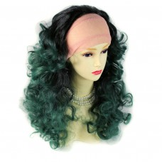 AMAZING Black Brown & Green Long 3/4 Fall Wig Hairpiece Curly Dip-Dye Ombre hair from WIWIG UK