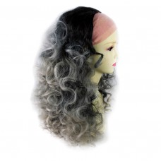 AMAZING Black Brown & Grey Long 3/4 Fall Wig Hairpiece Curly Dip-Dye Ombre hair from WIWIG UK