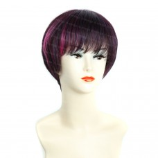 Wiwigs ® Lovely Short Dark Burgundy & Purple & Red Full Hire Skin Top Lady Wigs