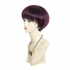 Wiwigs ® Pretty Short Dark Burgundy & Purple & Red Bob Full Hire Ladies Wigs