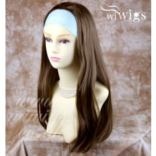 Heat Resistant Brown 3/4 Fall Hair Piece Long Straight Half Wig hairpiece