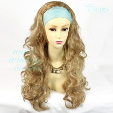 Curly Blonde mix 3/4 Fall Hair Piece Long Wavy Half Wig hairpiece WIWIGS UK
