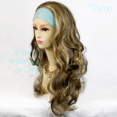 Curly Blonde Brown 3/4 Fall Hair Piece Long Wavy Half Wig hairpiece WIWIGS UK