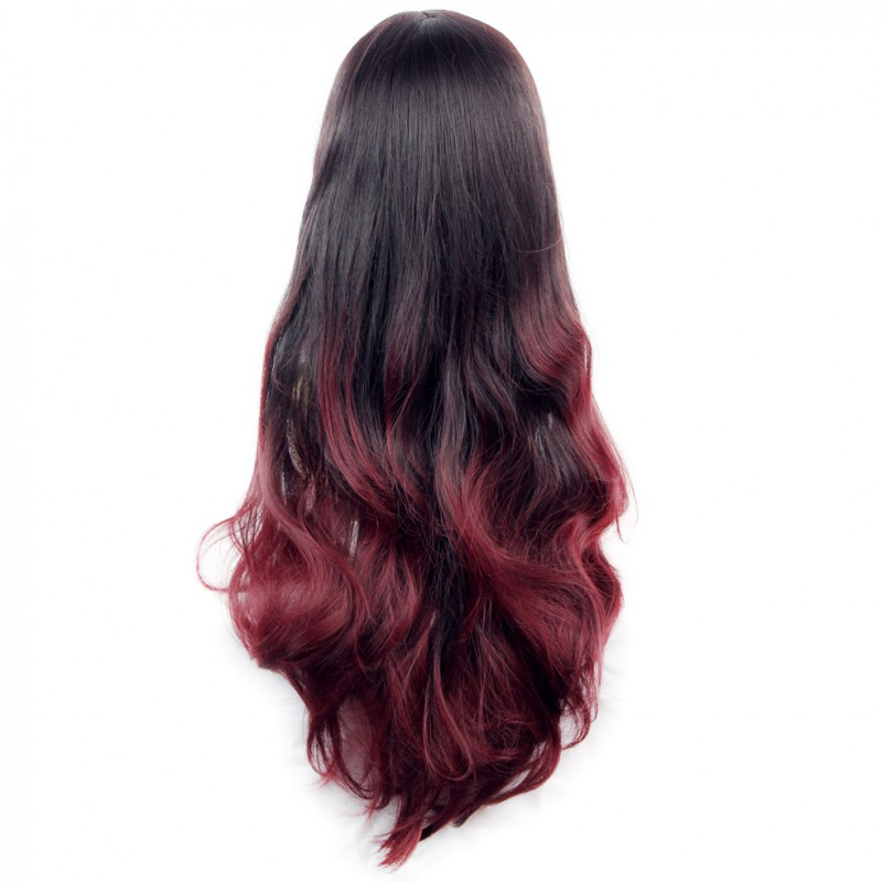 Wiwigs Long Wavy Lady Wigs Black Brown Amp Burgundy Dip