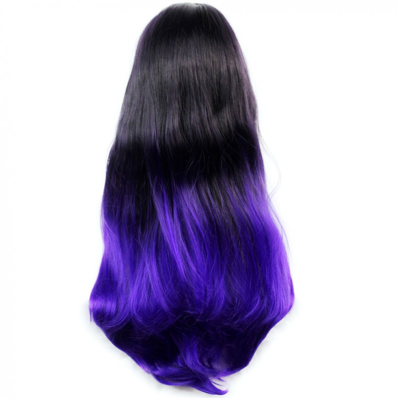 wiwigs long wavy lady wigs black brown amp purple dipdye