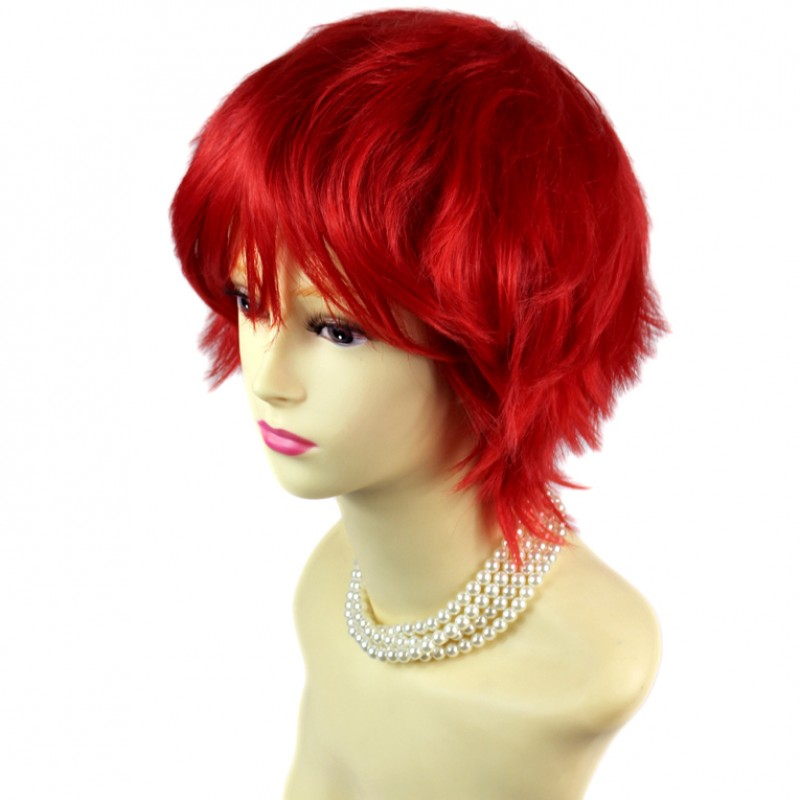 Wiwigs Striking Red Man S Wig Short Spikey Style Lady