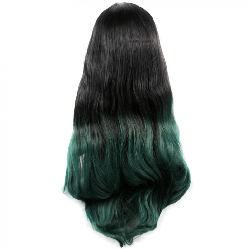 Wiwigs Long Wavy Lady Wigs Black Brown Green Dip Dye Ombre Hair