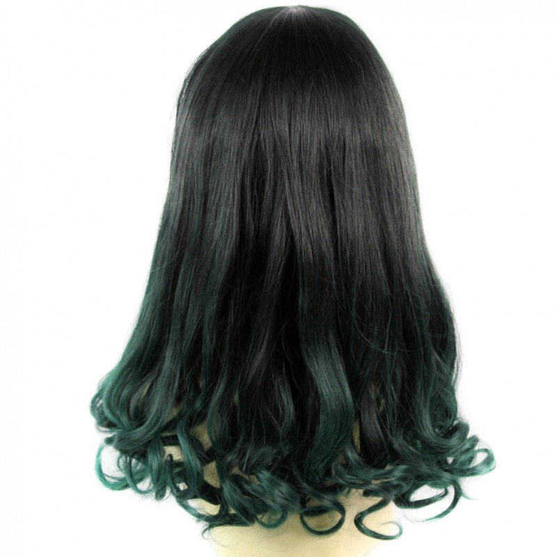 Wiwigs Bouncy Lovely Black Brown Green Long Curly Lady Wigs Dip