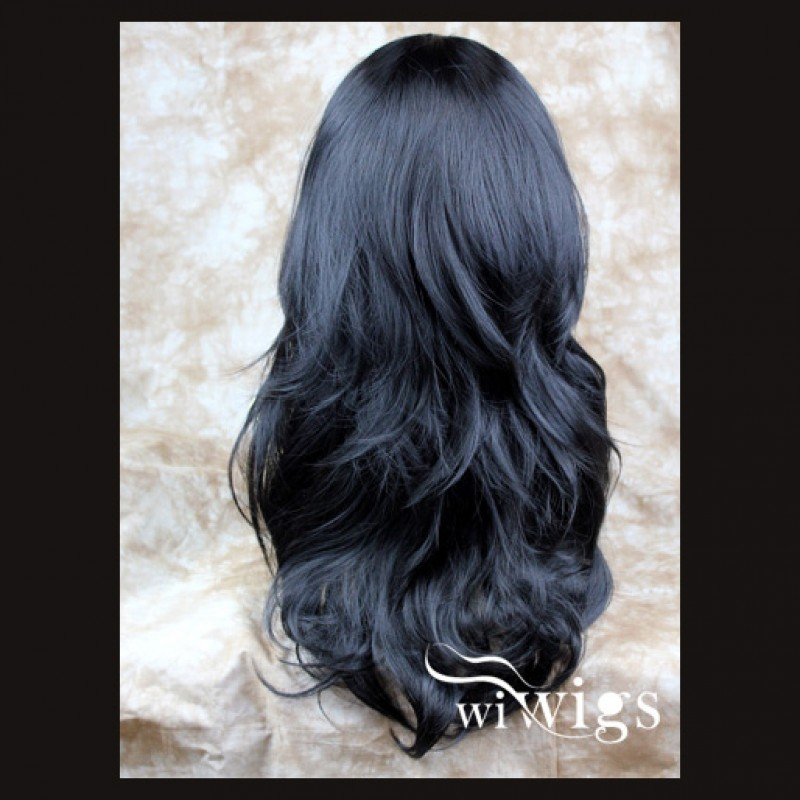 Wiwigs Wavy Layered Jet Black Long 3 4 Wig Fall