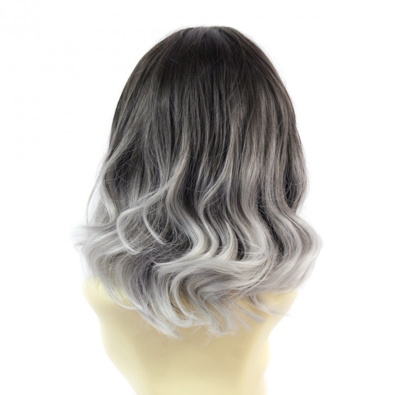 Wiwigs Wiwigs Pretty Short Wavy Bob Style Wig Grey Medium Brown Dip Dye Ombre Hair Uk