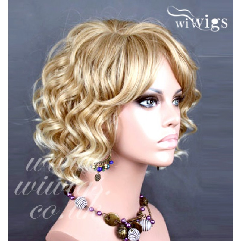 Wiwigs - Lovely Short Curly Blonde mix Summer Style Ladies Wig UK 32d2f035631c