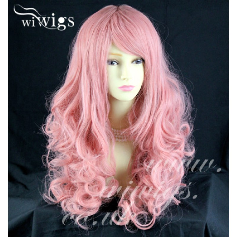 Wiwigs - Stunning Long Curly Pink Ladies Wigs Skin Top Cosplay Wig ... c7dc142729bc