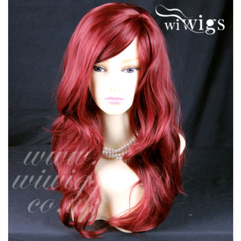 Wiwigs Wonderful Wavy Long Burgundy Mix Red Curly Heat