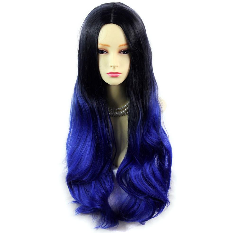 wiwigs long wavy lady wigs black brown amp blue dipdye