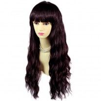 Super model Wavy Brown & Burgundy Long Ladies Wigs skin top Hair WIWIGS UK