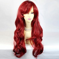 Watch Out Cosplay Long Wavy Dark Red Ladies Wigs from WIWIGS UK
