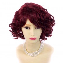 Summer Style Short Curly Burgundy Red Mix Skin Top Ladies Wigs WIWIGS UK