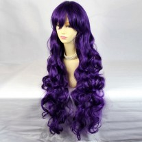 Watch Out Cosplay Long Curly Purple Ladies Wigs from WIWIGS UK