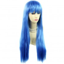 Fabulous Long Straight wig Skin Top Blue Ladies Wigs Heat Resistant Cosplay UK