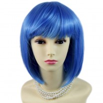 Stunning Cosplay Heat Resistant Blue Bob Style Short Ladies Wigs UK