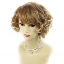 Summer Style Short Curly Strawberry Blonde Light Blonde Mix Skin Top Ladies Wigs WIWIGS UK
