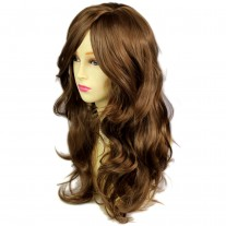 Wonderful wavy Long Light Brown Cocoa Heat Resistant Ladies Wigs Hair UK