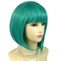 Stunning Cosplay Heat Resistant Jade Green mix Bob Style Short Ladies Wigs UK