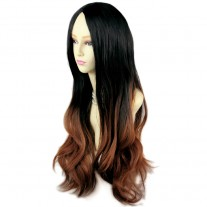 AMAZING Style Black Brown & Red Long Wavy Lady Wigs Dip-Dye Ombre hair WIWIGS UK
