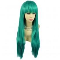 Fabulous Long Straight wig Jade Green mix Ladies Wigs Heat Resistant Cosplay UK