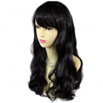 Stunning Wavy Long Black Brown Ladies Wigs skin top Natural Hair from WIWIGS UK