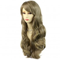Sexy Beautiful Layered wavy ASH blonde Long Ladies Wigs Skin Top Wig UK