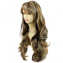 Sexy Beautiful Layered wavy Blonde Brown mix Long Ladies Wigs Skin Top Wig UK