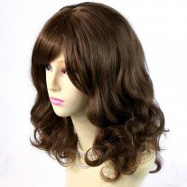Stunning Heat Resistant Curly Light Chestnut Brown Wig WIWIGS UK
