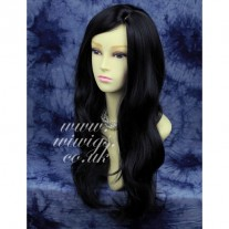Natural Heat Resistant Jet Black Long Wavy Ladies Wigs wiwigs UK