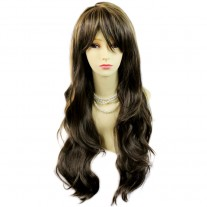 Sexy Beautiful Layered wavy Blonde mix Brown Long Ladies Wigs Skin Top Wig UK