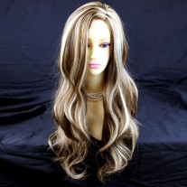 Wiwigs Fabulous Long Layers Wavy Brown With Blonde Highlights Ladies Wig Skin Top